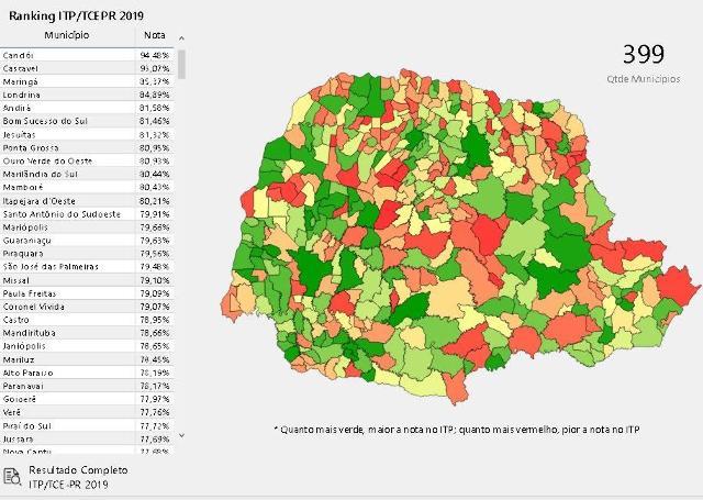 Ranking de portais da transparência  dos municípios pode ser visto em mapa